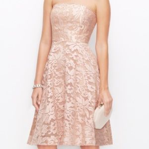 Ann Taylor Dresses - Ann Taylor Embroidered Organza Strapless Dress